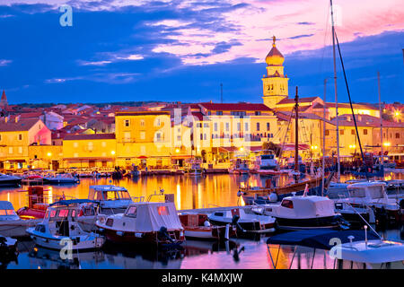 Historic island town of Krk dawn waterfront view, Kvarner bay archipelago of Croatia - Stock Photo
