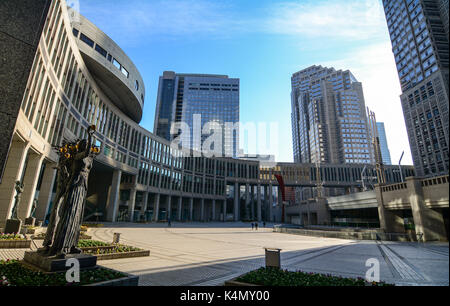 Tokyo, Japan - Jan 3, 2016. Metropolitan Government Comlex in Tokyo, Japan. The Buildings have become the face of - Stock Photo