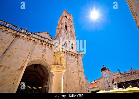 UNESCO town of Trogir main square landmarks view, Dalmatia, Croatia - Stock Photo