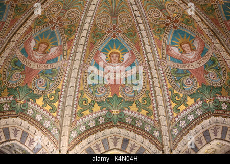 The vault of the choir decorated with mosaics representing the Beatitudes, Crypt, Basilica of Notre-Dame de Fourviere, - Stock Photo