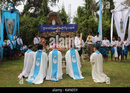 Assumption celebration outside Battambang Catholic church, Battambang, Cambodia, Indochina, Southeast Asia, Asia - Stock Photo