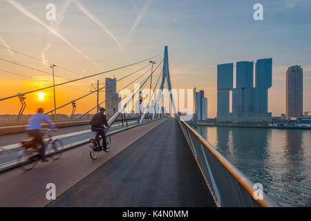 Erasmusbrug (Erasmus Bridge) and Wilhelminakade 137, De Rotterdam, The Rotterdam Building, Rotterdam, South Holland, - Stock Photo