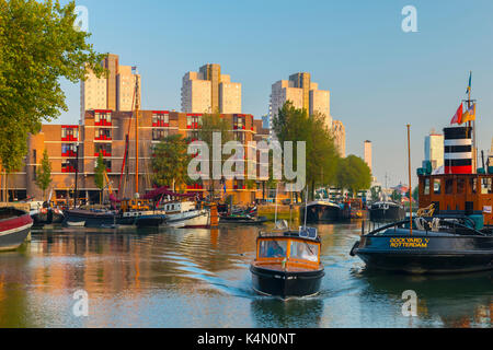 Boat, Havenmuseum, Leuvehaven, Rotterdam, South Holland, The Netherlands, Europe - Stock Photo