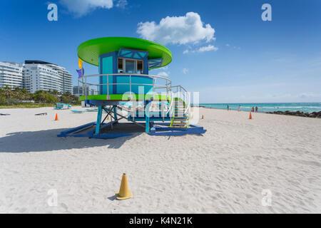 Lifeguard watchtower on South Beach, Miami Beach, Miami, Florida, United States of America, North America - Stock Photo