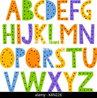 Cute and colorful childish hand drawn English alphabet, with dots. Suited for children's birthday invitation or - Stock Photo