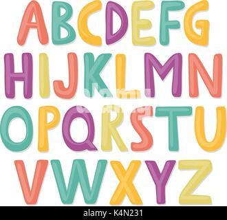 Cute and colorful childish hand drawn English alphabet. Suited for children's birthday invitation or other fun design. - Stock Photo