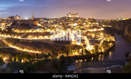View over Tajo River at Santa Maria Cathedral and Alcazar, UNESCO World Heritage Site, Toledo, Castilla-La Mancha, - Stock Photo