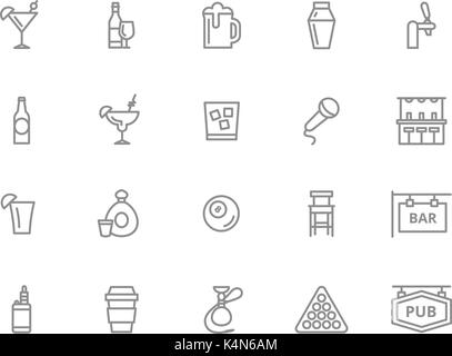 Set of vector alcohol and bar, night club line icons. Cocktail, wine, beer, cup, tequila, cognac, whiskey, shaker, - Stock Photo