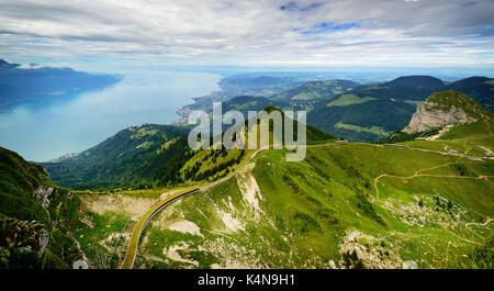 View from Rocher de Naye, Switzerland, towards Lake Leman. - Stock Photo