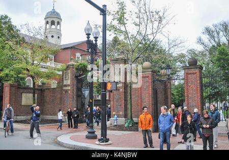 Harvard University, Johnston Gate, Cambridge MA, USA - Stock Photo