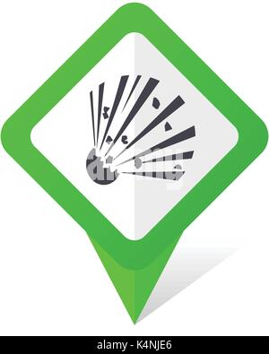Bomb green square pointer vector icon in eps 10 on white background with shadow. - Stock Photo