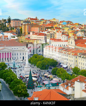 Aerial view of Rossio square in Old Town of Lisbon, Portugal - Stock Photo