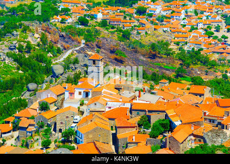 Aerial view of Monsanto village. Monsanto village is famous for its stone houses. - Stock Photo