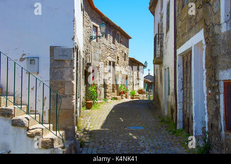 Traditional Portugal empty street in  Monsanto village. This village is famous for its stone houses. - Stock Photo