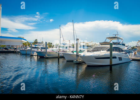 FORT LAUDERDALE, USA - JULY 11, 2017: A line of boats displayed for sale at the Fort Lauderdale. - Stock Photo