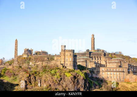 View of Calton Hill in Edinburgh Scotland with Martyr's Monument, Nelsons Monument, Dugald Stewart Monument, St - Stock Photo