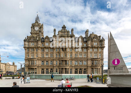 Edinburgh - March 16, 2017: The Balmoral luxury hotel on Princes Street close to Waverley Station. on Princes Street - Stock Photo