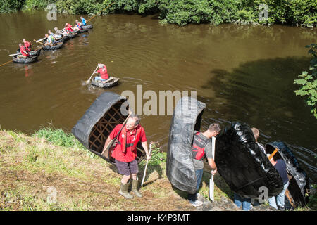 Coracle,boat,traditional,fishing,craft,race,races,racing,on,River,Teifi,at,village,of,Cilgerran,near,Cardigan,North,Pembrokeshire,Wales,U.K.,UK, - Stock Photo