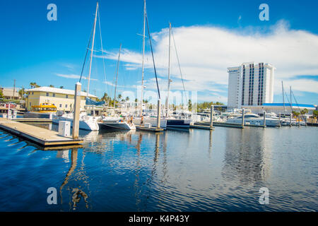 FORT LAUDERDALE, USA - JULY 11, 2017: A line of boats displayed for sale at the Fort Lauderdale - Stock Photo