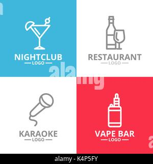 Set of night club, karaoke, disco, cocktail logo or insignia, emblems, labels and badge. Vector line style - Stock Photo