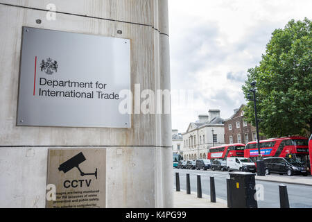 The entrance to the Department for International Trade (DIT), Whitehall Place, London, SW1A - Stock Photo
