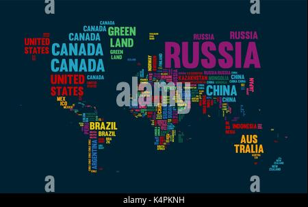 Typography color world map made of every country name. Concept text atlas design with continent shapes. EPS10 vector. - Stock Photo