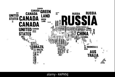 Typography world map made of every country name in black and white. Concept text atlas design with continent shapes. - Stock Photo