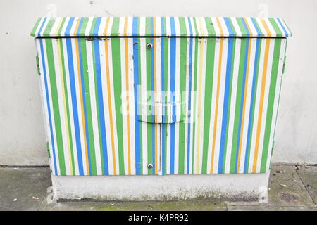 Electric meter painted outdoors - Stock Photo