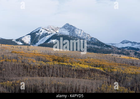 Autumn Storm and Chair Mountain in Gunnison National Forest, Colorado. - Stock Photo