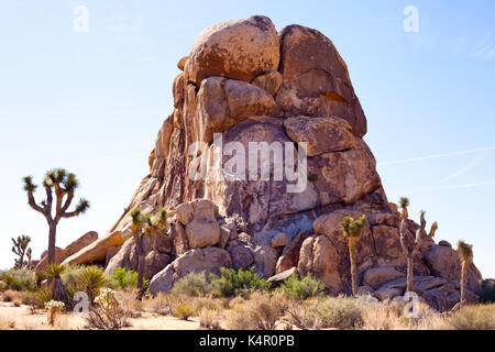 Boulder rock formation in Joshua Tree National Park - Stock Photo