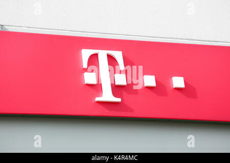 LINDEN, GERMANY JULY, 2017: Telekom Shop chain sign. Telekom is a German global technology shop chain, based in - Stock Photo