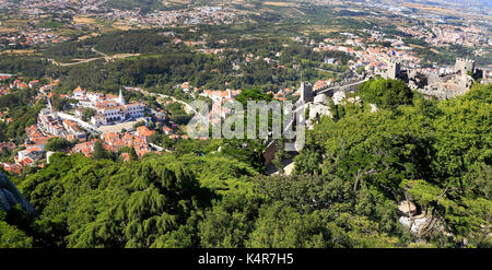 The Castle of the Moors was built in the 8th and 9th centuries, it was an important strategic point. - Stock Photo