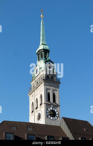 steeple of St Peter's Church, Peterskirche, Munich, Germany - Stock Photo