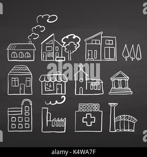 Various House sizes. Doodles on chalkboard, handdrawn vector sketch, clean outlines, vintage style blackboard. - Stock Photo