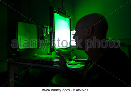 The advanced spectral imaging equipment used to scan and photograph the Dead Sea Scrolls with both color imaging - Stock Photo