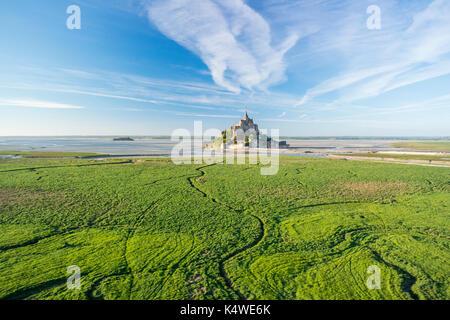 France, Manche (50), Baie du Mont Saint-Michel classée Patrimoine Mondial de l'UNESCO, le Mont Saint-Michel (vue - Stock Photo