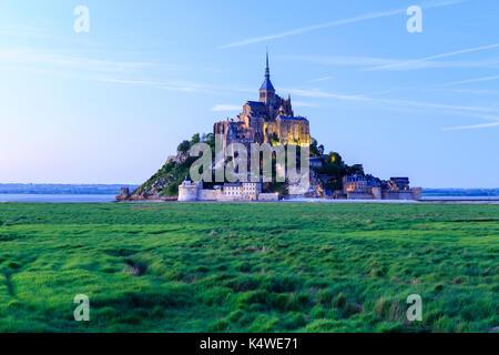 France, Manche (50), Baie du Mont Saint-Michel classée Patrimoine Mondial de l'UNESCO, le Mont Saint-Michel // France, - Stock Photo