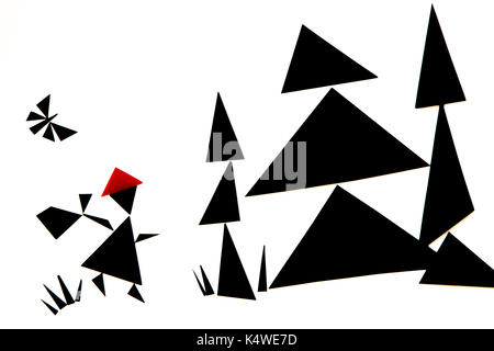 An abstract illustration of the red riding hood story with black and red triangles on a white background - Stock Photo