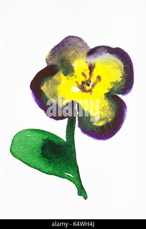 training drawing in suibokuga sumi-e style with watercolor paints - pansy flower hand painted on white paper - Stock Photo