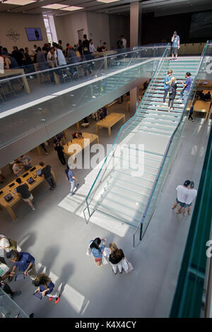 An interior view of the Apple Store in the Soho section of Manhattan, New York City - Stock Photo