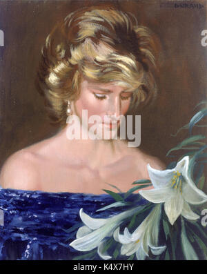 A posthumous portrait of the late Princess Diana, painted on September 3rd 1997 entitled, Mummy-Princess Diana with - Stock Photo
