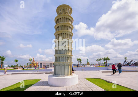 The architectural model of The Leaning Tower of Pisa is a world architectural wonder built in the tourist area to - Stock Photo