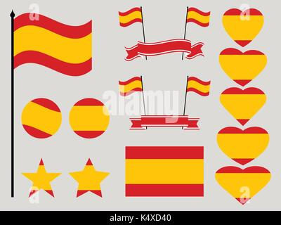 Spain flag set. Collection of symbols heart and circle. Vector illustration - Stock Photo