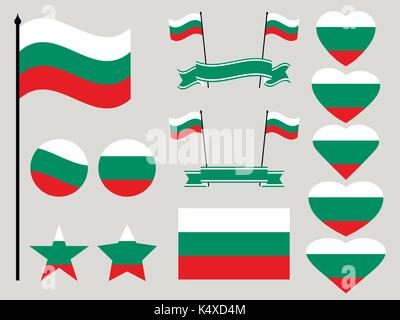 Bulgaria flag set. Collection of symbols heart and circle. Vector illustration - Stock Photo