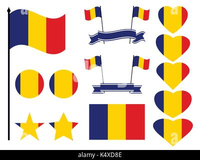 Romania flag set. Collection of symbols heart and circle. Vector illustration - Stock Photo