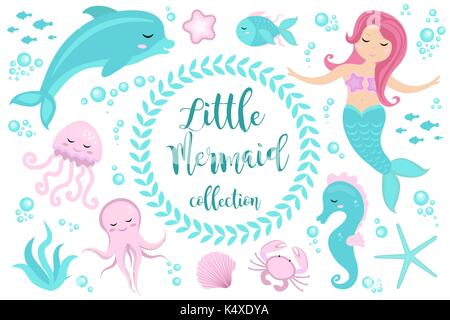 Cute set Little mermaid and underwater world. Fairytale princess mermaid and dolphin, octopus, seahorse, fish, jellyfish. - Stock Photo