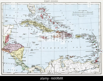 Antique map, circa 1875, of West Indies - Stock Photo