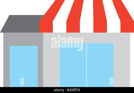 store grocery shop building exterior facade isolated on white background - Stock Photo