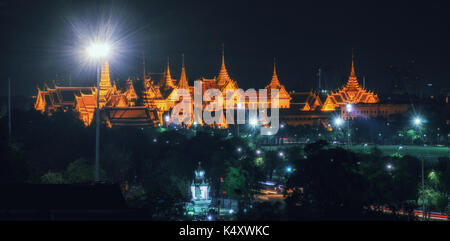 Nice shot of landmark of king palace or Grand palace or wat pra kaew or emerald buddha temple at twilight in the - Stock Photo