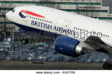 Undated file photo of a British Airways Boeing 777 taking off. British Airways is proposing new pension arrangements - Stock Photo